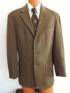 Vintage Fantastic Le Collezioni Structure~Italy~Men's Brown Tweed Wool 3-Button Jacket Blazer~Sportcoat 39R