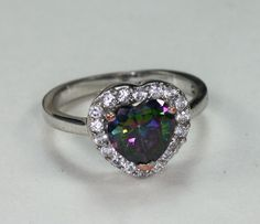 Glass Mystic Topaz Ring Heart Shape Clear Crystals Size 7 #unbranded #SolitairewithAccents