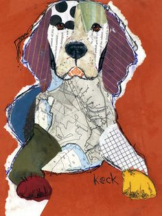 """Saatchi Online Artist Michel Keck; Collage, """"Beagle"""" #art--also not a quilt, but could inspire one. Love the colors."""