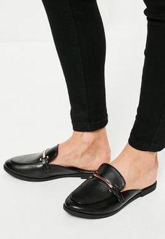 Black Metal Trim Flat Mules Flat Mules, Shoe Shop, Missguided, Flats,  Footwear a66f2c592bf8