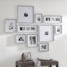 Shop Icon Grey Frame Gallery, Set of Give treasured photos the presentation they deserve with this set of classic frames. The thick white mats and beveled grey frames elevate the most casual snapshots, and the set unifies a variety of images. Grey Picture Frames, White Photo Frames, Black And White Photo Wall, Picture Wall, Gallery Wall Layout, Gallery Wall Frames, Frame Wall Collage, Frames On Wall, Wall Groupings