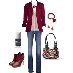 """Cranberry"" by kristen-344 on Polyvore - I need a blazer...and somewhere to wear a blazer. ;)"