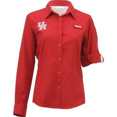 Columbia Sportswear Women's University of Houston Long Sleeve Tamiami PFG Shirt (Red, Size Medium) - NCAA Licensed Product, NCAA Women's at Academy...