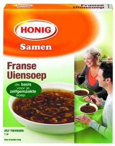 Honig Franse Uiensoep is een heerlijke, lichtgebonden bouillon. De gebakken uitjes en tuinkruiden geven je zelfgemaakte soep een smaak die vrijwel iedereen lekker vindt.