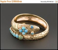 ON SALE Victorian Snake Ring  Antique Turquoise Snake Ring