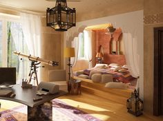 Gorgeous Moroccan Bedroom Theme with Glaring Colorful Furniture : Modern Moroccan Bedroom Theme Home Office Desk With Telescope