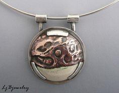 Sterling Silver Pendant, Silver Choker Necklace, Enamel on Copper, OOAK