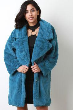 Oversize Lapel Collar Faux Fur Coat