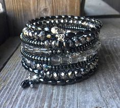 Silver Shades Modern Multi Strand Memory Wire Wrap Bracelet