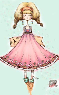 #Whimsical girl #illustration