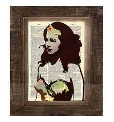The Amazing Wonder Woman Original Pop Art Print on Antique Upcycled Bookpaper. $7.00, via Etsy.