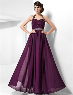 Halter Floor length Chiffon Evening Gown. I like this in maybe a different color