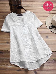 Vintage White Irregular Blouses. US size 8 to 20. #white #blouse #flowers