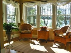 Sunroom curtains. Good solution for multiple windows close together!