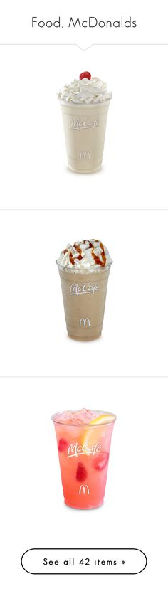 """Food, McDonalds"" by sheri-gifford-pauline ❤ liked on Polyvore featuring food, drinks, food and drink, fillers, food & drinks, mcdonalds, food & drink, comida, mcdonald's and filler"