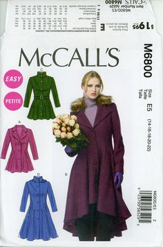 McCalls M6800 McCall Corp. 2013© Uncut Sewing Pattern Misses, Women (6, 8, 10, 12, 14 ) (14, 16, 18, 20, 22 ) Lined Coats, Belt, Detachable Collar and Hood: Fitted and flared, lined coats have collar variations, seam detail, side or side front pockets, and two-piece sleeves. B: shaped hemline, lining shows, detachable, lined (elastic loop) collar. C: carriers and belt. D: detachable, lined hood. Designed for medium to heavy weight woven fabrics. 18 printed pattern tissues. Level of…