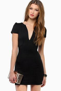 Black V-neck Short Sleeve Bodycon Dress