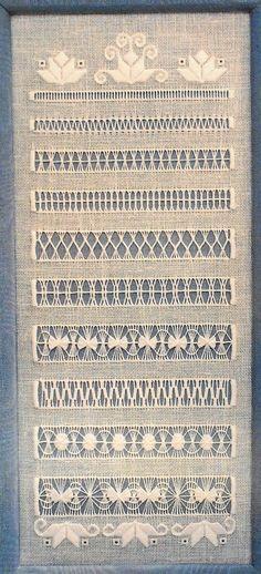 Fibre Arts — Drawn Thread Sampler by Linda Driskell, pattern on...