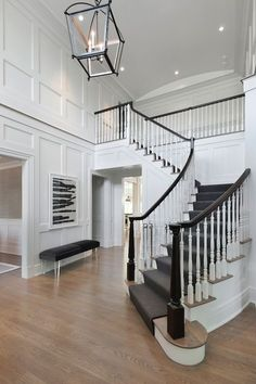 Foyer with Board and Batten, Transitional, Entrance/foyer, Blue Water Home Builders – staircase Foyer Staircase, Entrance Foyer, House Entrance, Staircase Ideas, 2 Story Foyer, Modern Entryway, Entryway Ideas, Foyer Lighting, Lighting Ideas