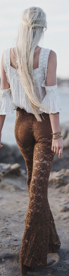 Hippie boho bohemian gypsy style lace trousers. For more follow www.pinterest.com/ninayay and stay positively #inspired