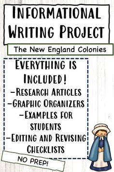 Students will be guided through the entire writing process in this no-prep resource! Your students will write their essay about the New England Colonies using 6 provided articles for their research. The articles cover who settled in the New England Colonies, the geography and climate of the colonies, the resources they had available, their economy, religion, society, and more!