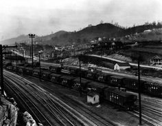 The Rail Yard and Rt. 52 in East Williamson, WV, 1930.