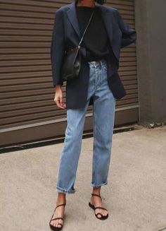 32 ideas how to wear denim dress winter chic for 2019 – Style Winter Chic, Casual Winter, Mode Outfits, Casual Outfits, Fashion Outfits, Blazer Outfits, Fashion Clothes, Classic Outfits, Sweater Outfits