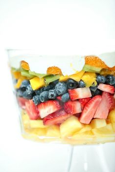 Perfect for a potluck or BBQ - Layered Summer Fruit Salad with Lime Cheesecake Dressing - Low Calorie, Low Fat Healthy Dinner Recipe