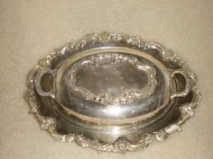 Vintage Sheridan Silver on Copper Art Nouveau Serving Dish Lidded #SheridanSilver $30.00