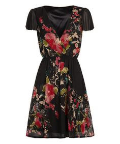 Look at this Black & Pink Floral Surplice Dress on #zulily today!