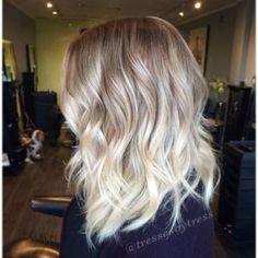 Platinum blonde balayage ombre.