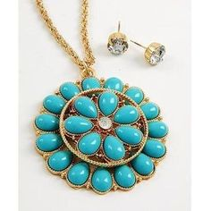 I just added this to my closet on Poshmark: 1 LEFT  Turquoise flower pendant. Price: $22 Size: OS