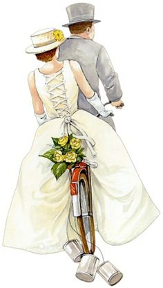 bride and groom on bicycle Wedding Art, Wedding Images, Wedding Clip, Wedding Couples, Wedding Pictures, Vintage Pictures, Vintage Images, Wedding Illustration, Marianne Design