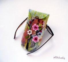 Wet Felted Eyeglasses Case Sakura Easter motives Ready to Ship with metal closure handmade gift for her under 50 USD