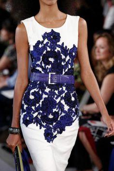 ❦ Oscar de la Renta blue and white dress