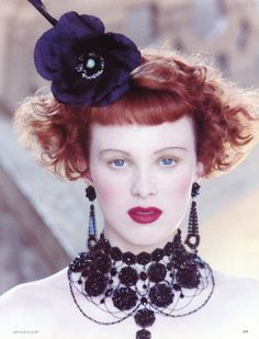 "Vogue UK October 1997 ""Opulence"" Karen Elson by Arthur Elgort"