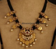 Black Cord Necklace Lakshmi Coins - Jewellery Designs