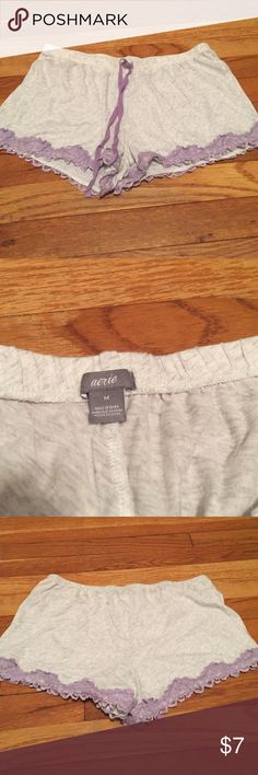 Aerie sleep shorts Brand new worn once Aerie sleep shorts/boxers! Size medium but could fit a small or medium! Waist band is stretchy, making them very comfortable and airy. Nice purple lace along the bottom of the shorts. Great for sleeping in or lounging in! Excellent condition! aerie Intimates & Sleepwear Pajamas