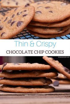 Crispy Chocolate Chip Cookies, Homemade Chocolate Chip Cookies, Crispy Cookies, Chocolate Chip Recipes, Yummy Cookies, Roll Cookies, Chocolate Cake, Dessert Recipes, Cookie Desserts