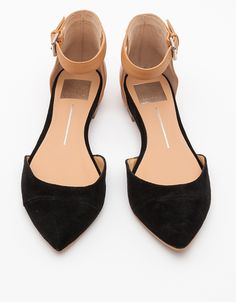 black and nude ankle flats