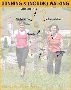 Streckeninformationen Running/Walking kurz (10,6 Km / 200 Hm) / geeignet für Hobby-Jogger/innen und (Nordic) Walker/innen