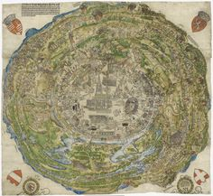 other pinner said:Hans Sebald Beham: Aerial view of the city of Vienna at the time of the First Turkish Siege in colored woodblock print, 1530 Vintage Maps, Antique Maps, Vienna Map, Niklas, Map Globe, Fantasy Map, Old Maps, Historical Maps, City Maps