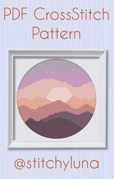 Modern Cross Stitch Pattern Embroidery Pattern Hoop Art Modern Cross Stitch Patterns, Back Stitch, Night Skies, Cross Stitching, Fiber Art, Embroidery Patterns, Needlework, Illustration, Handmade Gifts