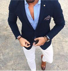 Men's Suits - Mucielee Blazer Masculino Slim Fit Mens Tuxedo Cheap Mans Suit Latest Coat Pant Designs Costume Homme 2 Pieces (Jacket+Pants - Girl Power Pack Traje Casual, Blazer Outfits Men, Casual Outfits, Mens Blazer Styles, Work Outfits, Blue Blazer Outfit Men, Suit Styles, Light Blue Blazer Mens, Chinos And Blazer Men