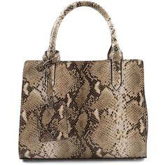 Sam Edelman Alisa Mini Faux Printed Leather Tote (180 AUD) ❤ liked on Polyvore featuring bags, handbags, tote bags, natural python, leather handbag tote, leather purses, brown tote, mini tote and leather handbags