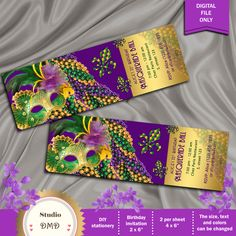 Masquerade Ball Birthday Party Invitation, Mardi Gras Party, Masquerade Party, Ticket Style, Green, Purple, Gold - Printable DIY by StudioDMD on Etsy https://www.etsy.com/listing/255228262/masquerade-ball-birthday-party