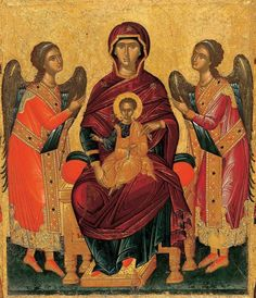 Byzantine Icons, Blessed Virgin Mary, Mother Mary, Fresco, Photography, Painting, Angels, Child, Baby Jesus