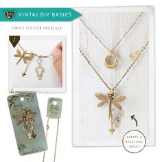 Vintaj DIY Jewelry. Create beautiful and simple necklace designs with our Vintaj Vogue assortments. Easily string the cluster of pendants & charms onto a chain necklace, in any order you'd like. Wear layered necklaces for an eclectic look.