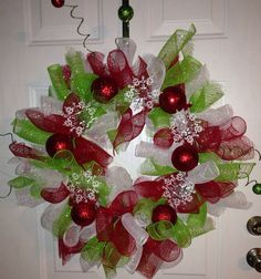 Curly Deco Mesh Christmas Wreath  on Etsy, $40.00