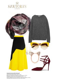 VIENNA DAYTRIP Fashion Look : Wear Santorus 'Regis Convinium' silk scarf with cashmere sweater, two-tone midi skirt, and yellow cats-eye sunglasses. Shop online now at santorus.com
